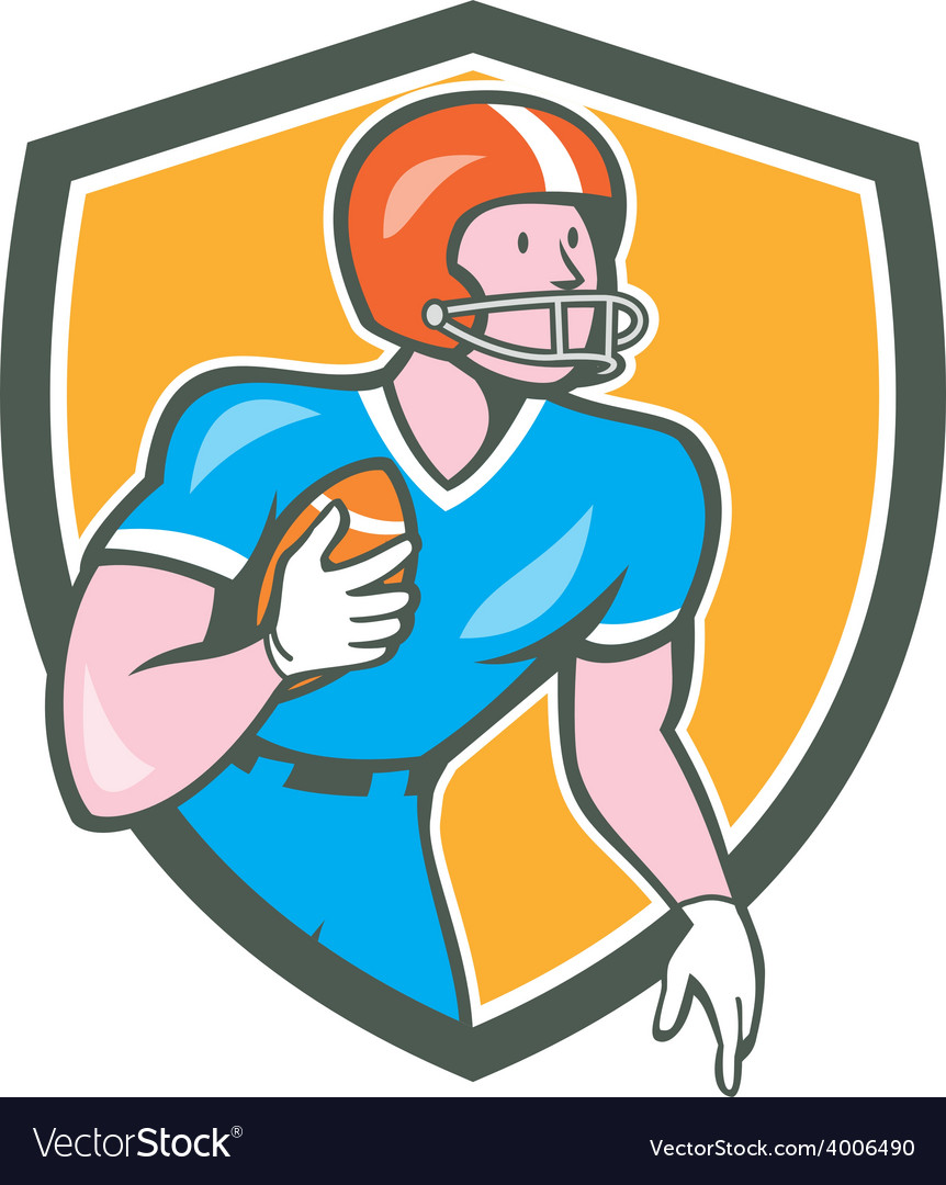 American football player rusher shield retro vector | Price: 1 Credit (USD $1)