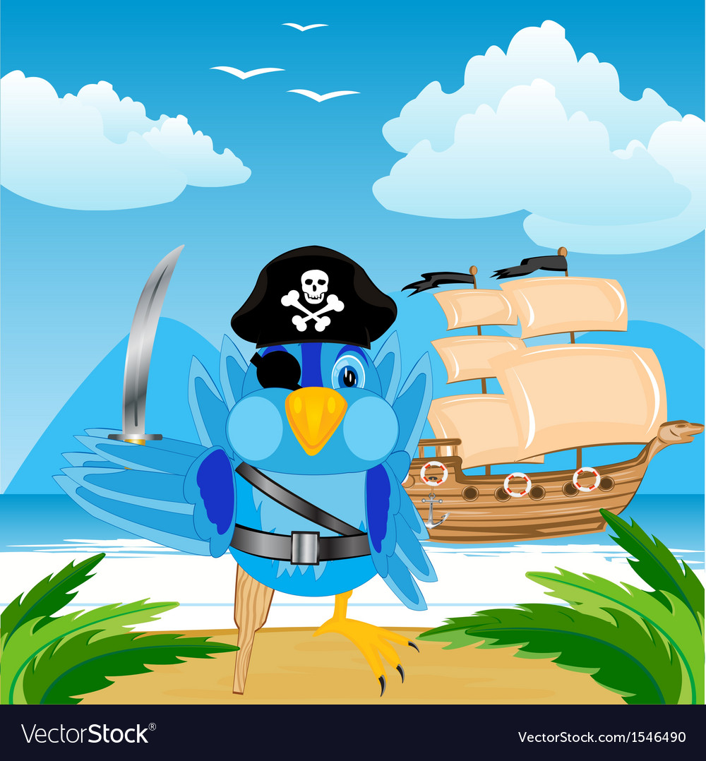 Bird pirate ashore tropical island vector | Price: 1 Credit (USD $1)
