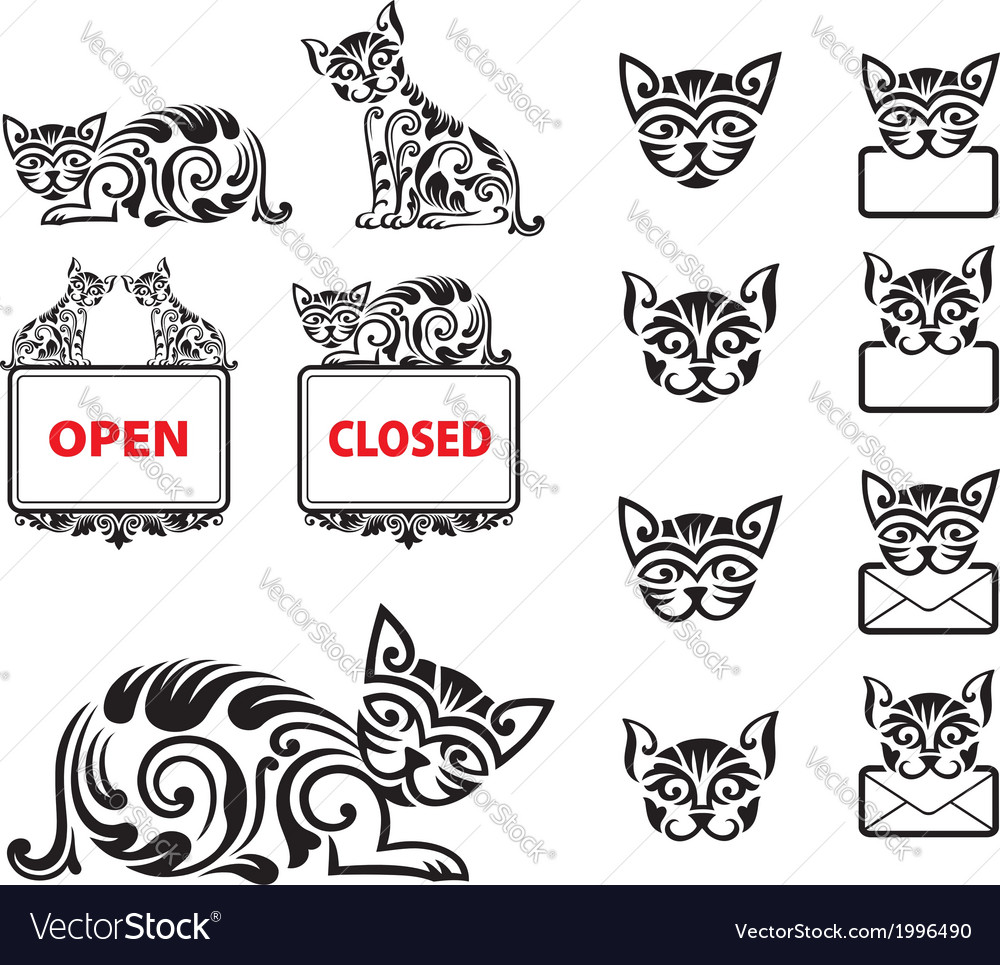 Cat pattern ornament decoration vector | Price: 1 Credit (USD $1)