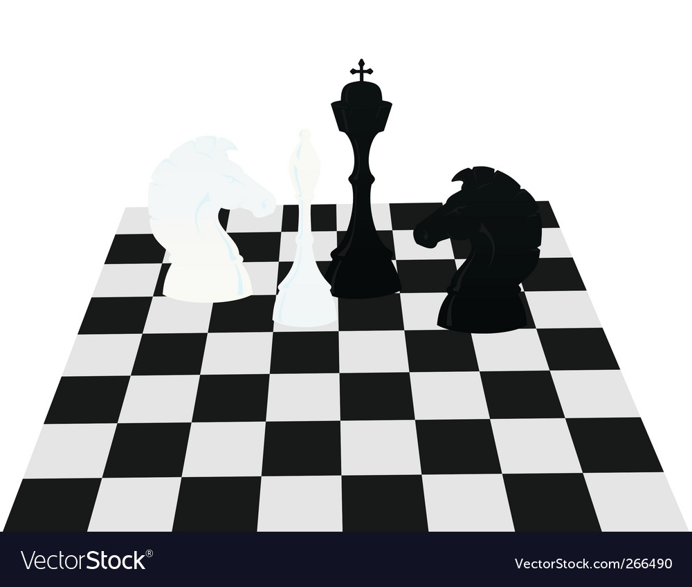 Chess on a board vector