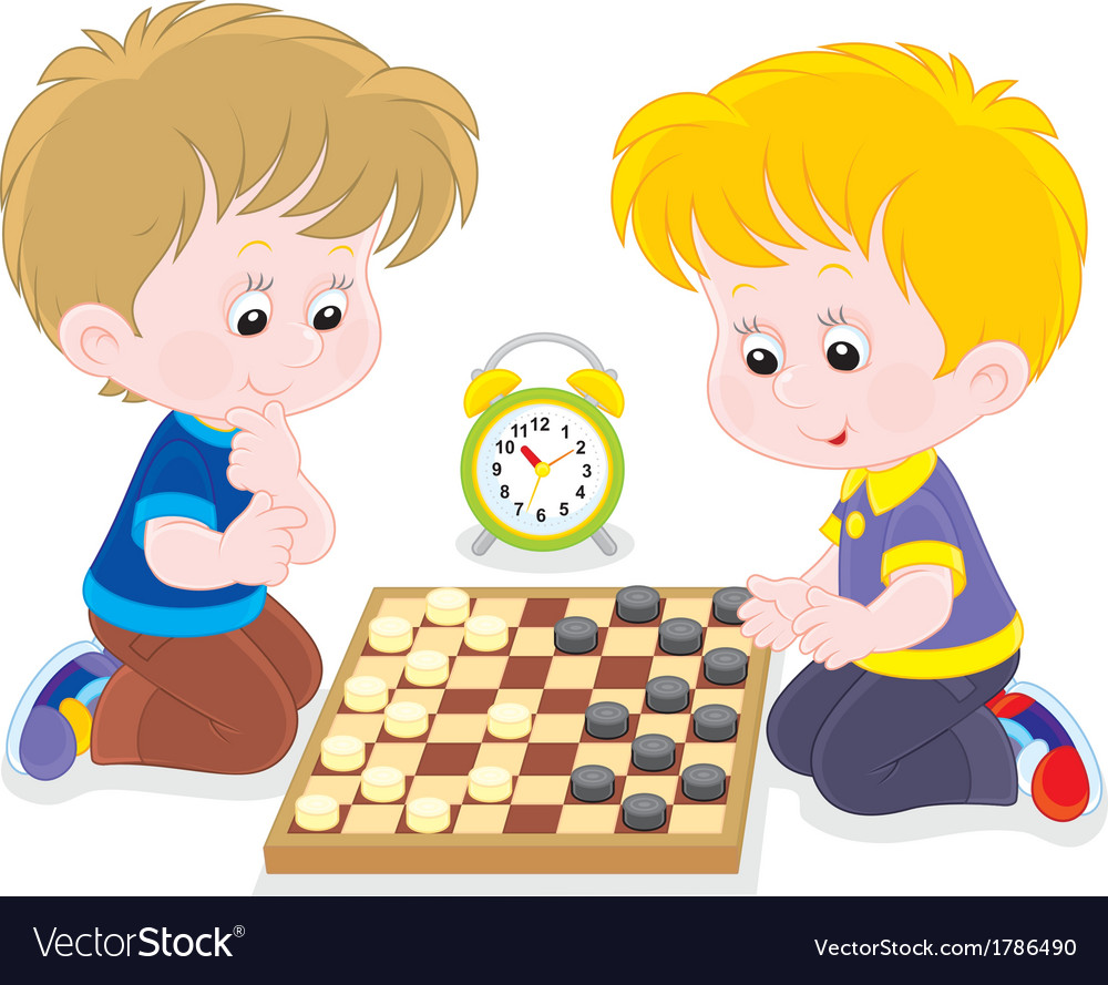 Children play checkers vector | Price: 1 Credit (USD $1)