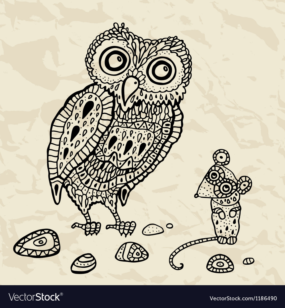 Decorative owl and mouse vector | Price: 1 Credit (USD $1)