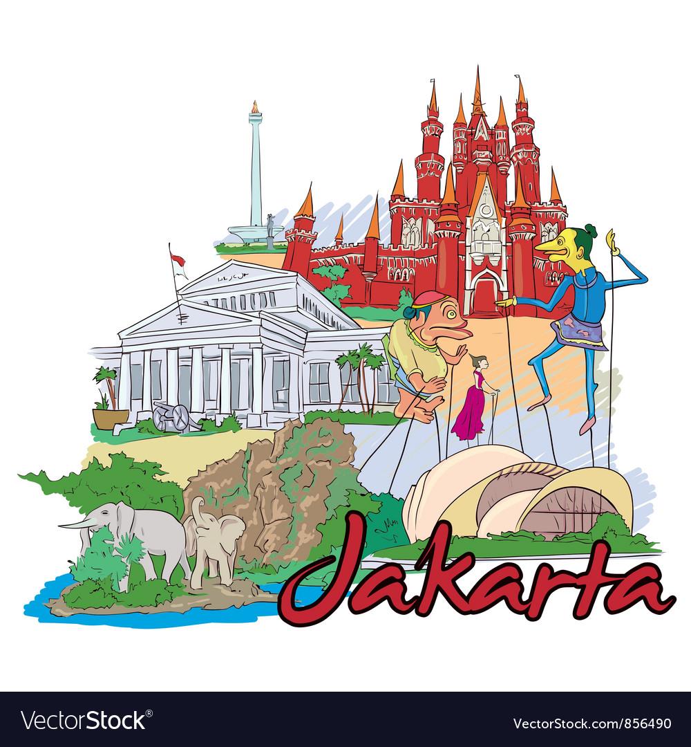 Jakarta doodles vector | Price: 1 Credit (USD $1)