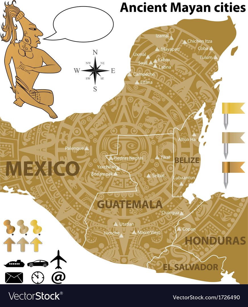 Map of the mayan cities in vintage style vector | Price: 1 Credit (USD $1)