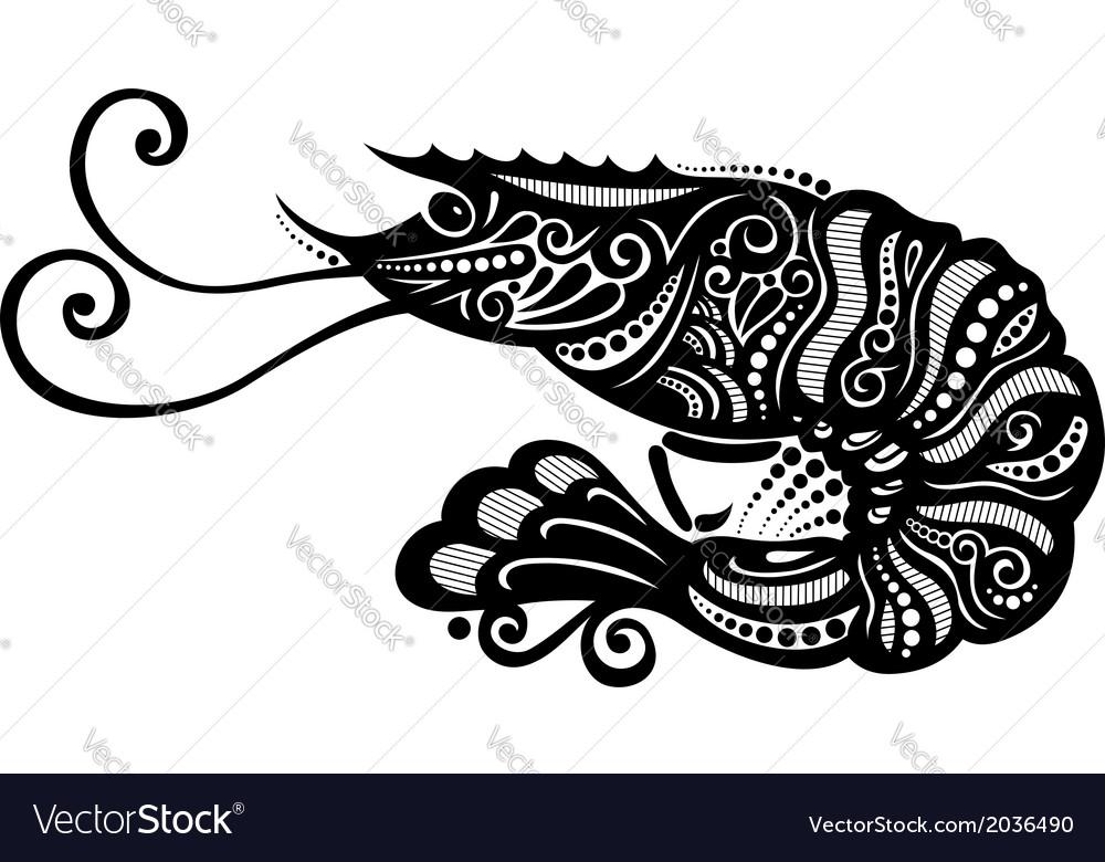 Ornate sea shrimp vector | Price: 1 Credit (USD $1)
