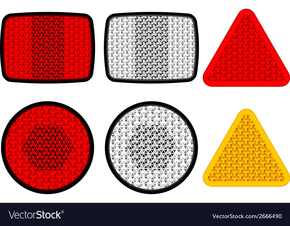 Safety reflectors red white orange vector | Price: 1 Credit (USD $1)