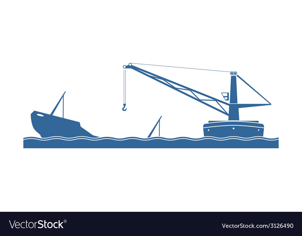 Salvaging a sunken ship vector | Price: 1 Credit (USD $1)