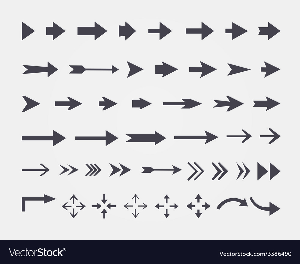 Set of different arrows isolated on white backgrou vector | Price: 1 Credit (USD $1)