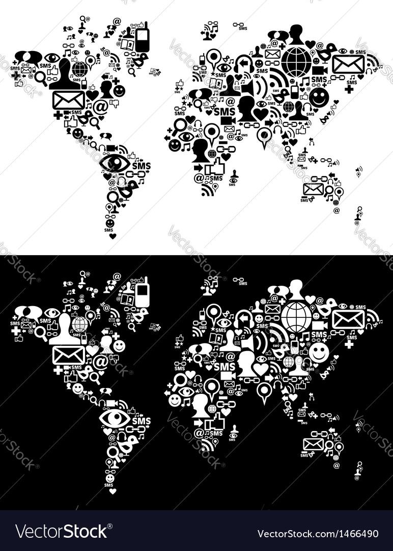 Social media world map vector | Price: 1 Credit (USD $1)