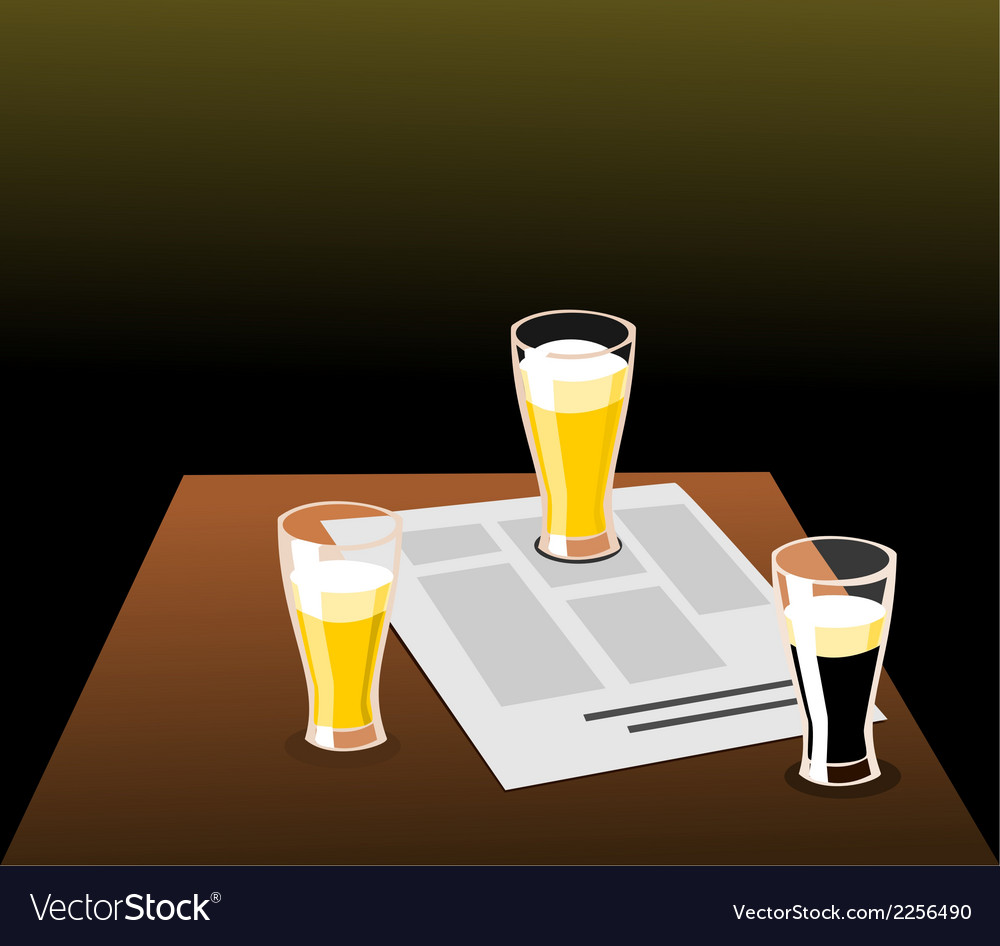 Three beers and newspaper on a table vector | Price: 1 Credit (USD $1)
