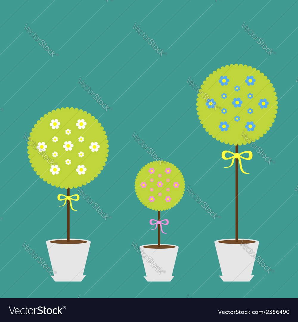 Tree set with flowers in the pot flat design flat vector | Price: 1 Credit (USD $1)