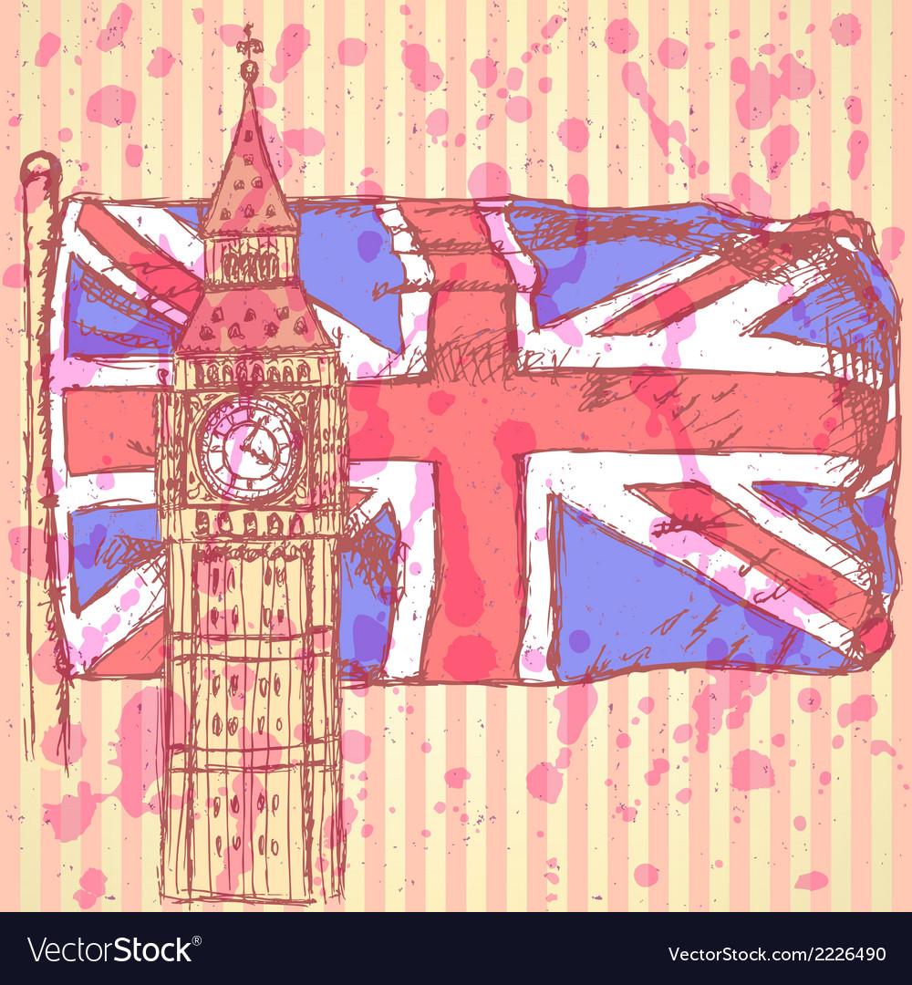 Uk flag big ben vector | Price: 1 Credit (USD $1)