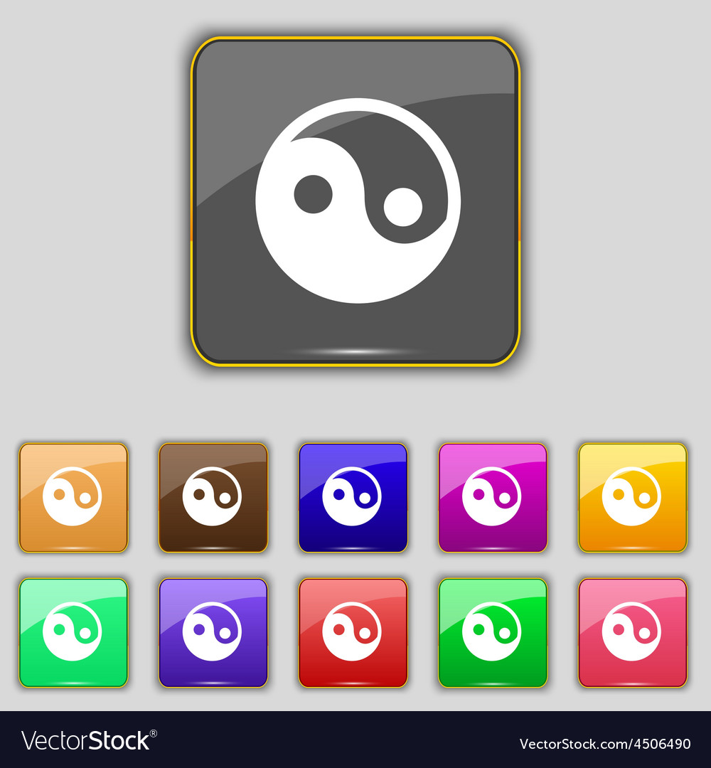 Ying yang icon sign set with eleven colored vector | Price: 1 Credit (USD $1)