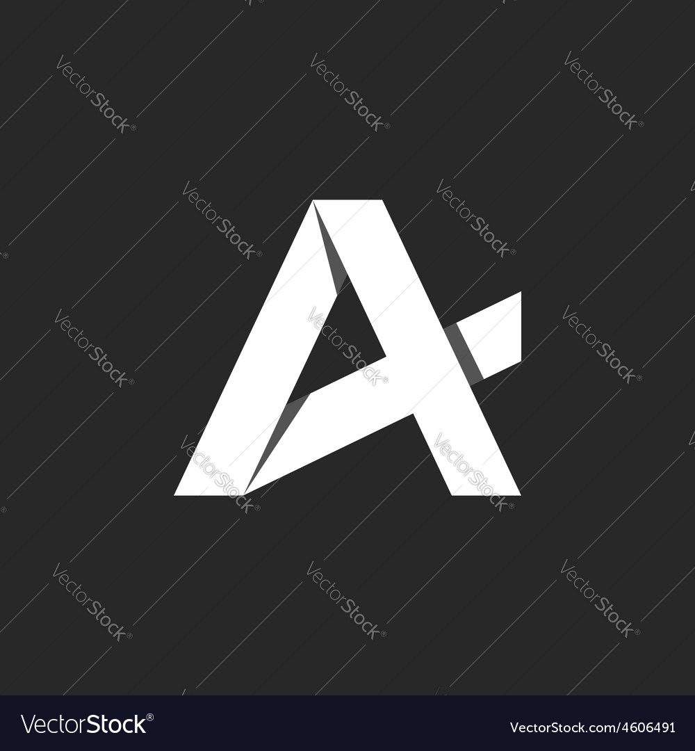A letter abstract logo black and white icon vector