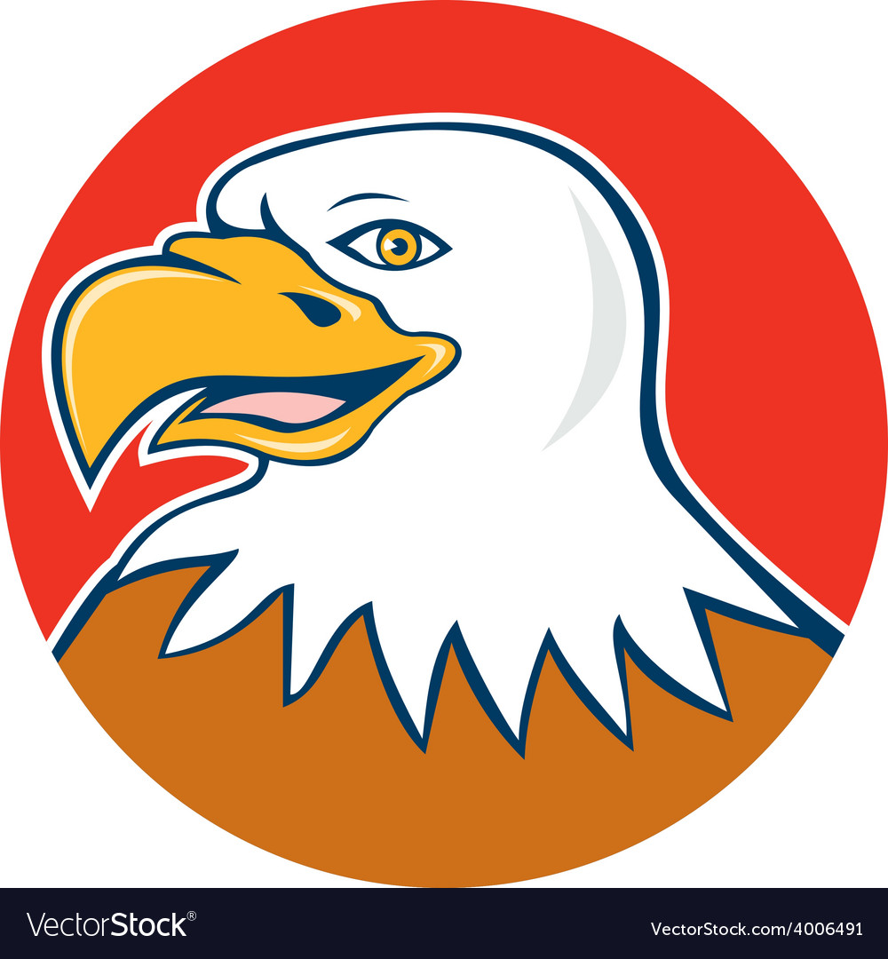 American bald eagle head smiling circle cartoon vector | Price: 1 Credit (USD $1)
