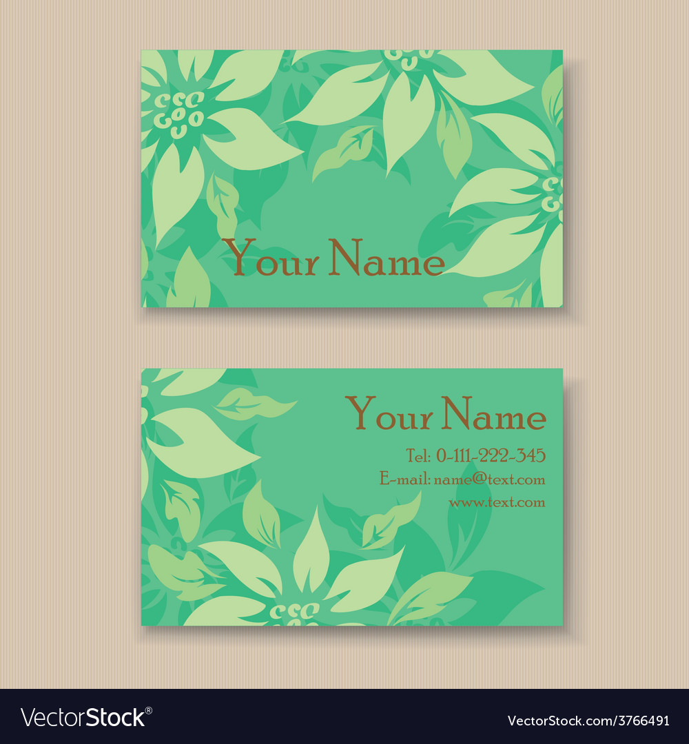 Business card with green flovers vector | Price: 1 Credit (USD $1)