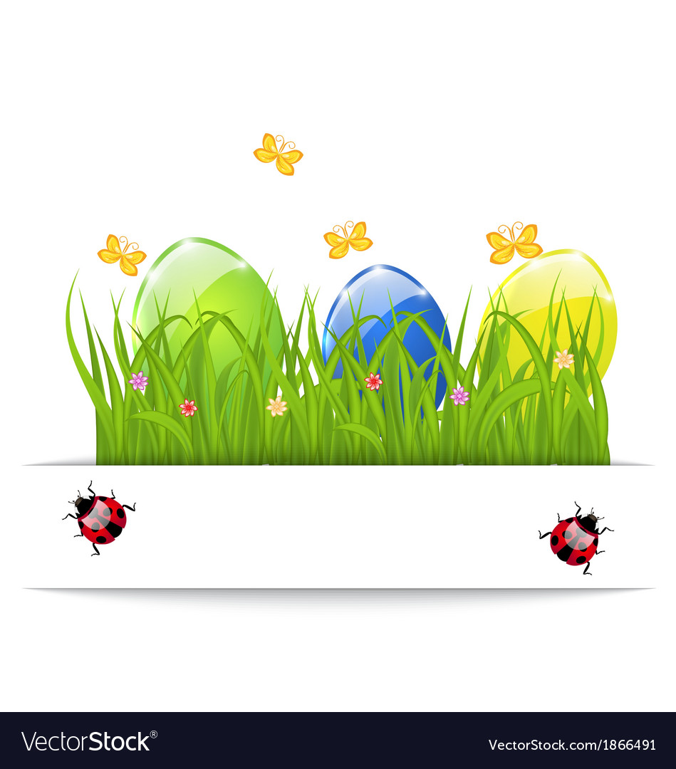 Easter colorful eggs in green grass with space for vector | Price: 1 Credit (USD $1)