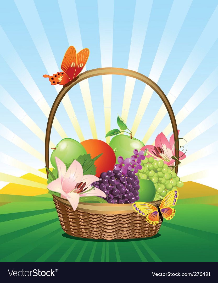 Fruit basket on the lawn vector | Price: 3 Credit (USD $3)