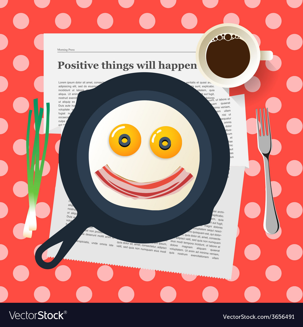 Funny breakfast smiling face make with fried eggs vector | Price: 1 Credit (USD $1)