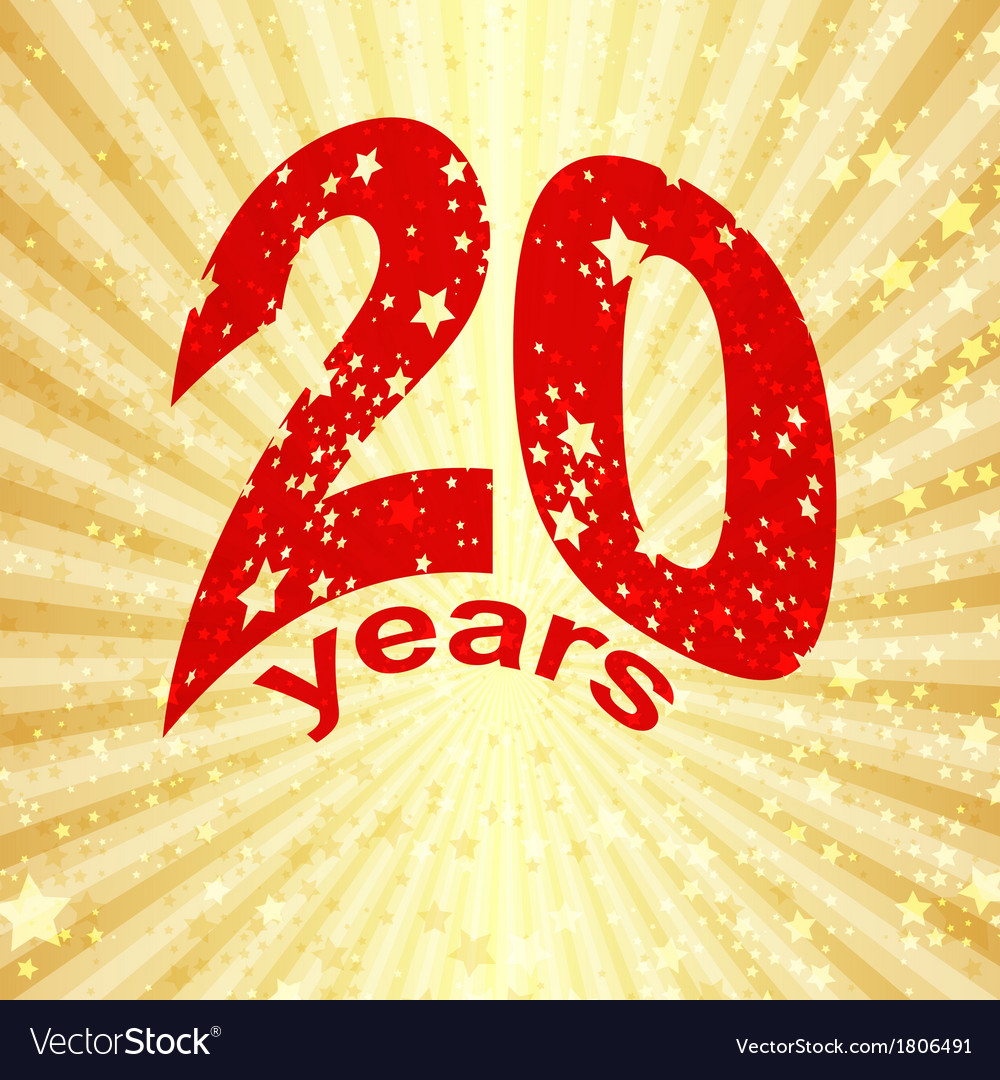 Greeting card with the 20th anniversary vector | Price: 1 Credit (USD $1)
