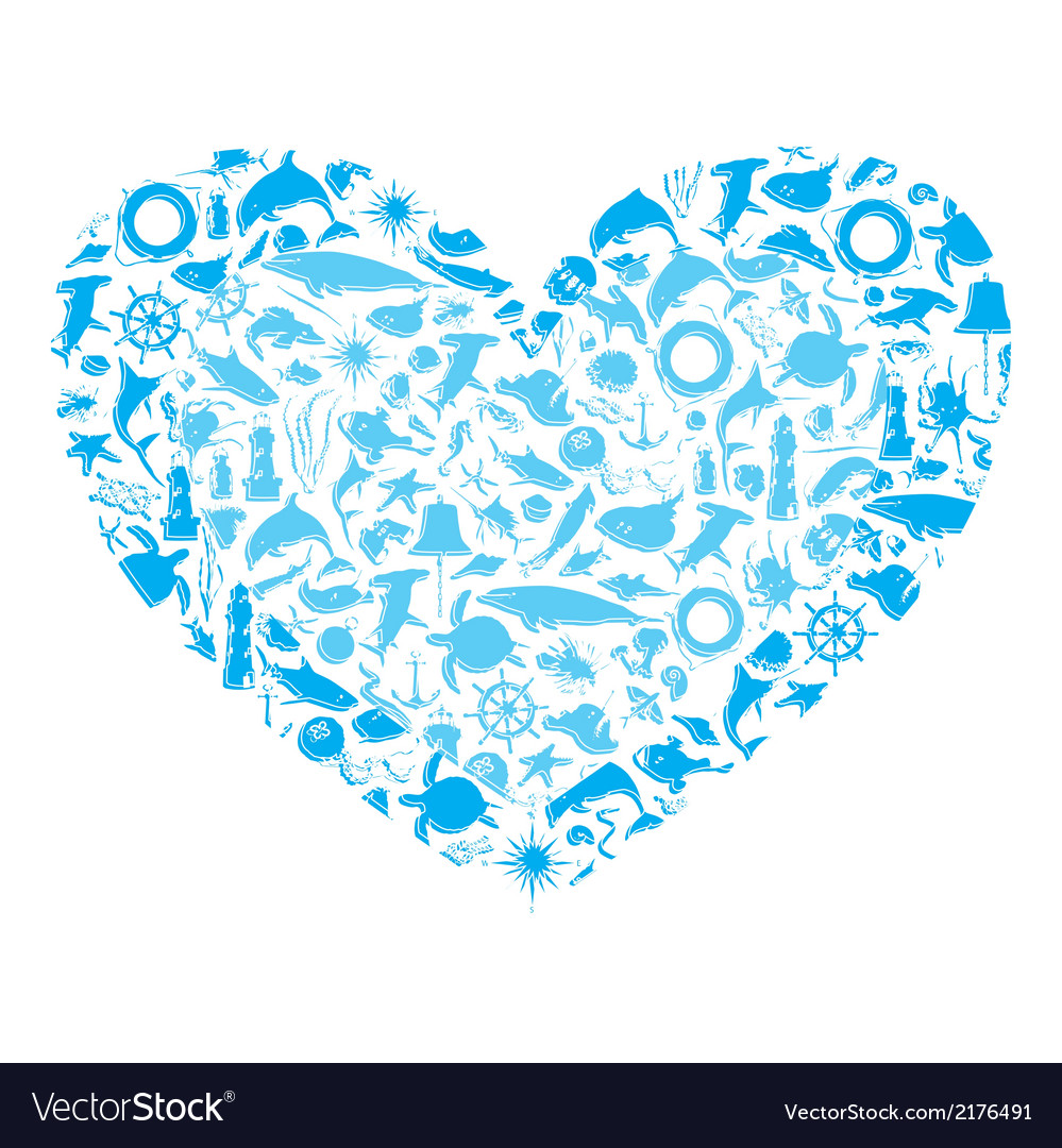 Heart with marine life vector | Price: 1 Credit (USD $1)