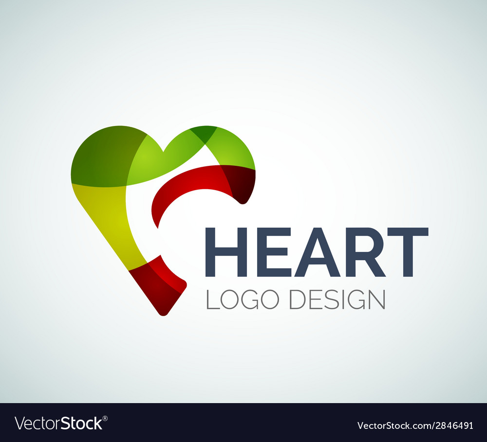 Love heart like logo made of color pieces vector | Price: 1 Credit (USD $1)