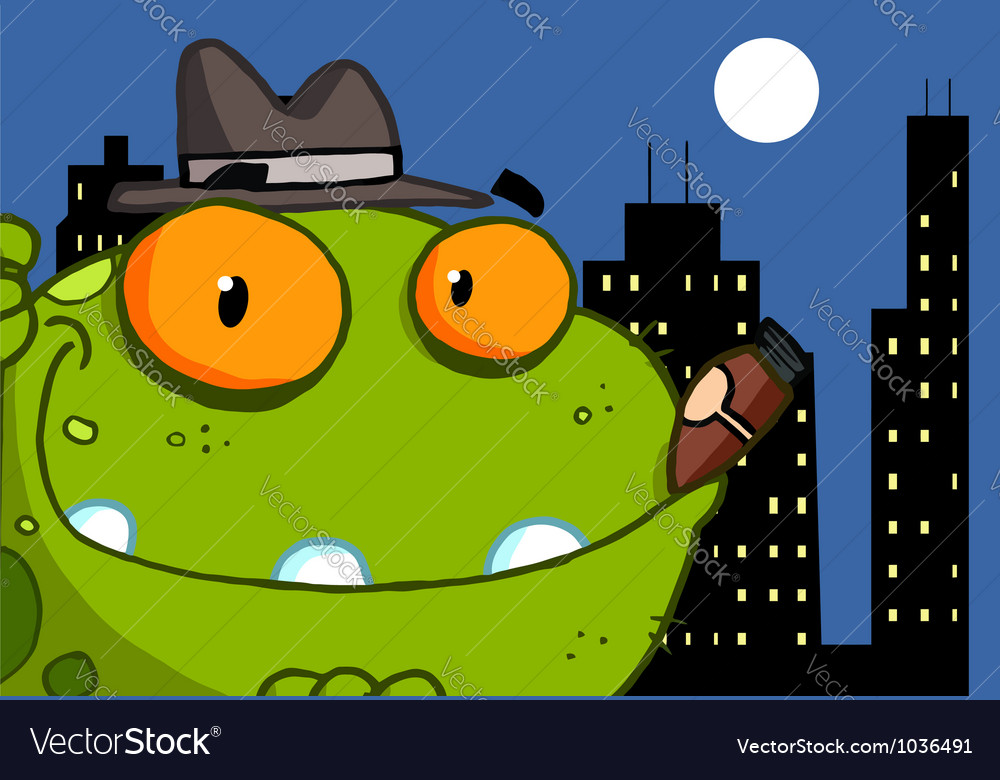 Mobster frog cartoon character vector | Price: 1 Credit (USD $1)