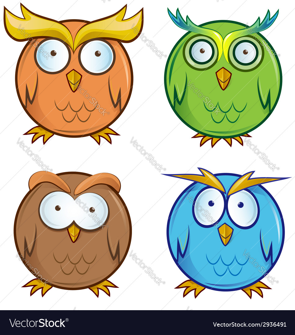 Owl cartoon set vector | Price: 1 Credit (USD $1)