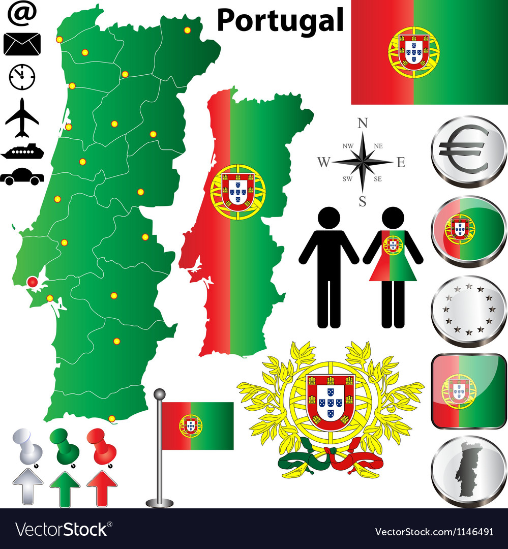 Portugal map vector | Price: 1 Credit (USD $1)