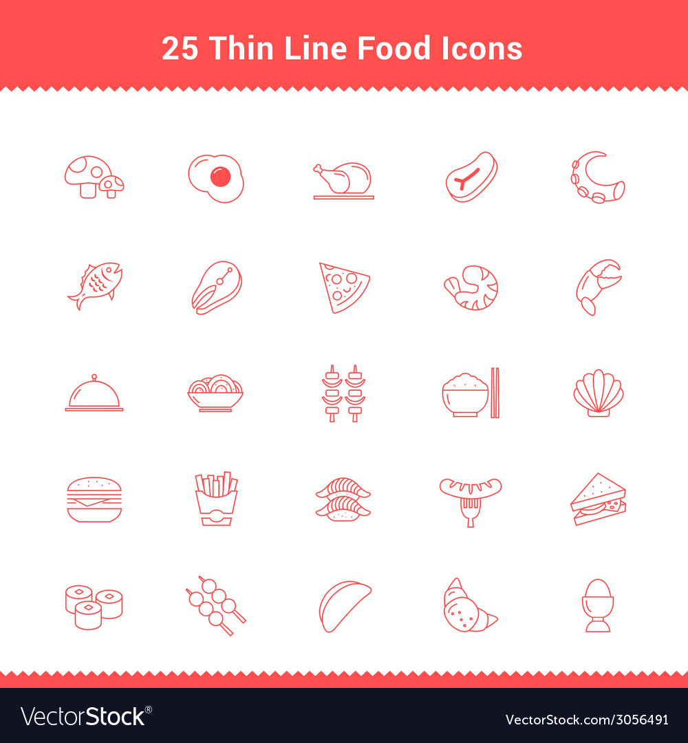 Set of thin line stroke food icon vector | Price: 1 Credit (USD $1)