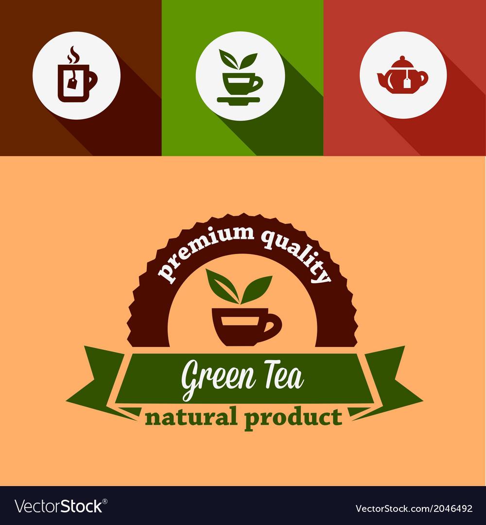 Flat green tea design elements vector | Price: 1 Credit (USD $1)