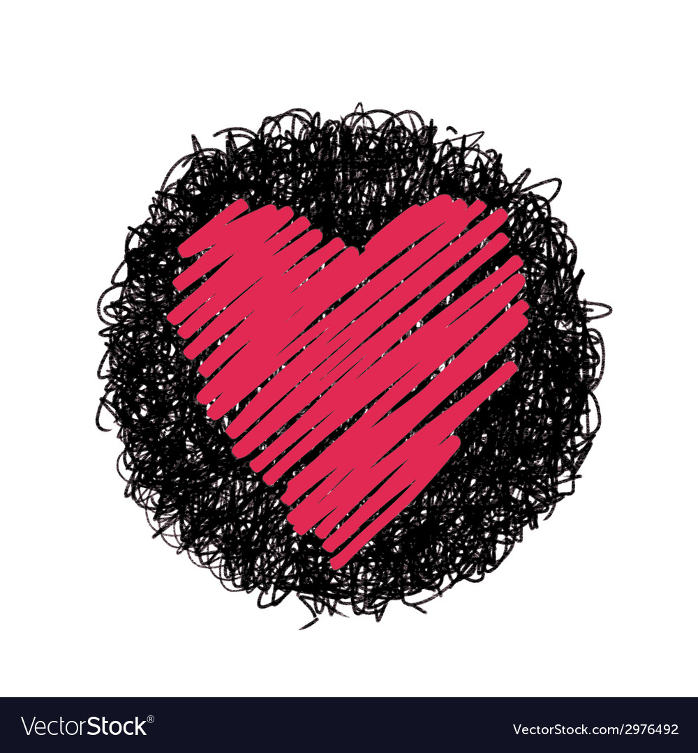 Red heart and black circle vector | Price: 1 Credit (USD $1)