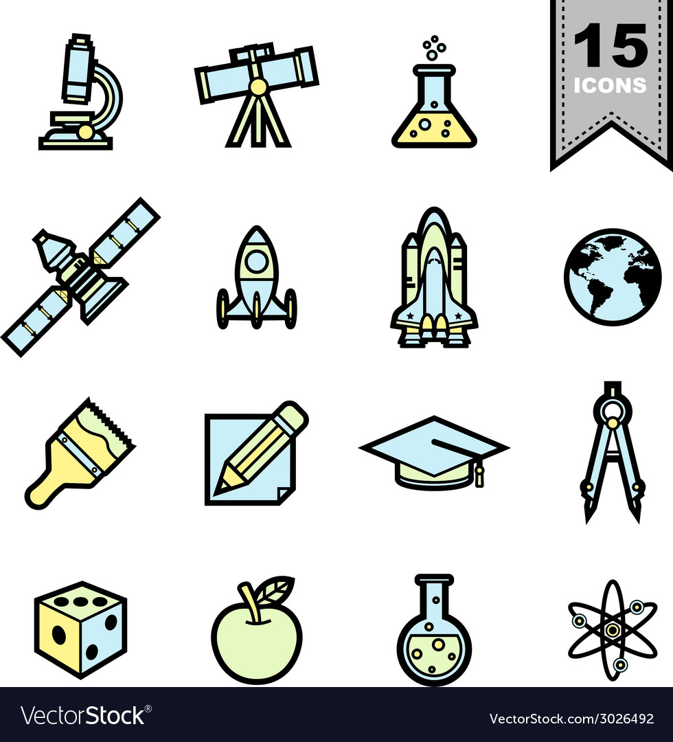 Science icons set eps 10 vector | Price: 1 Credit (USD $1)