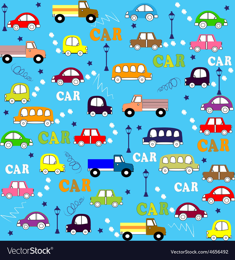 Seamless pattern trucks buses and cars vector | Price: 1 Credit (USD $1)