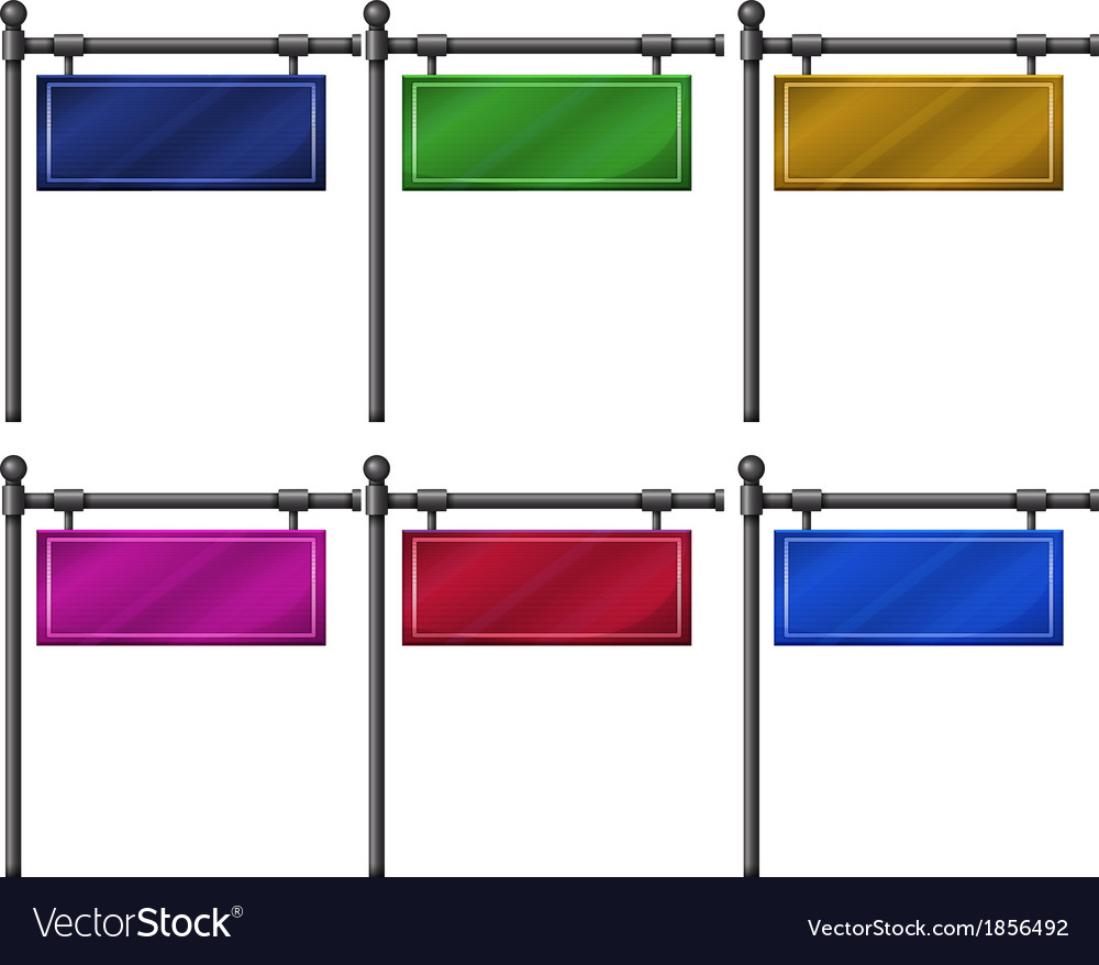Six colorful signboards vector | Price: 1 Credit (USD $1)