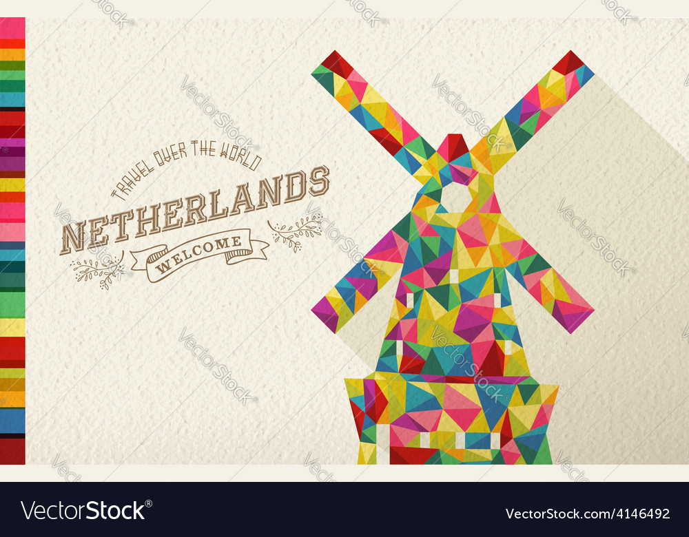 Travel netherlands landmark polygonal windmill vector | Price: 1 Credit (USD $1)