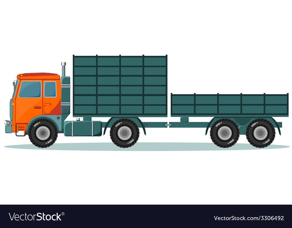 Truck with high and low trailers vector | Price: 1 Credit (USD $1)