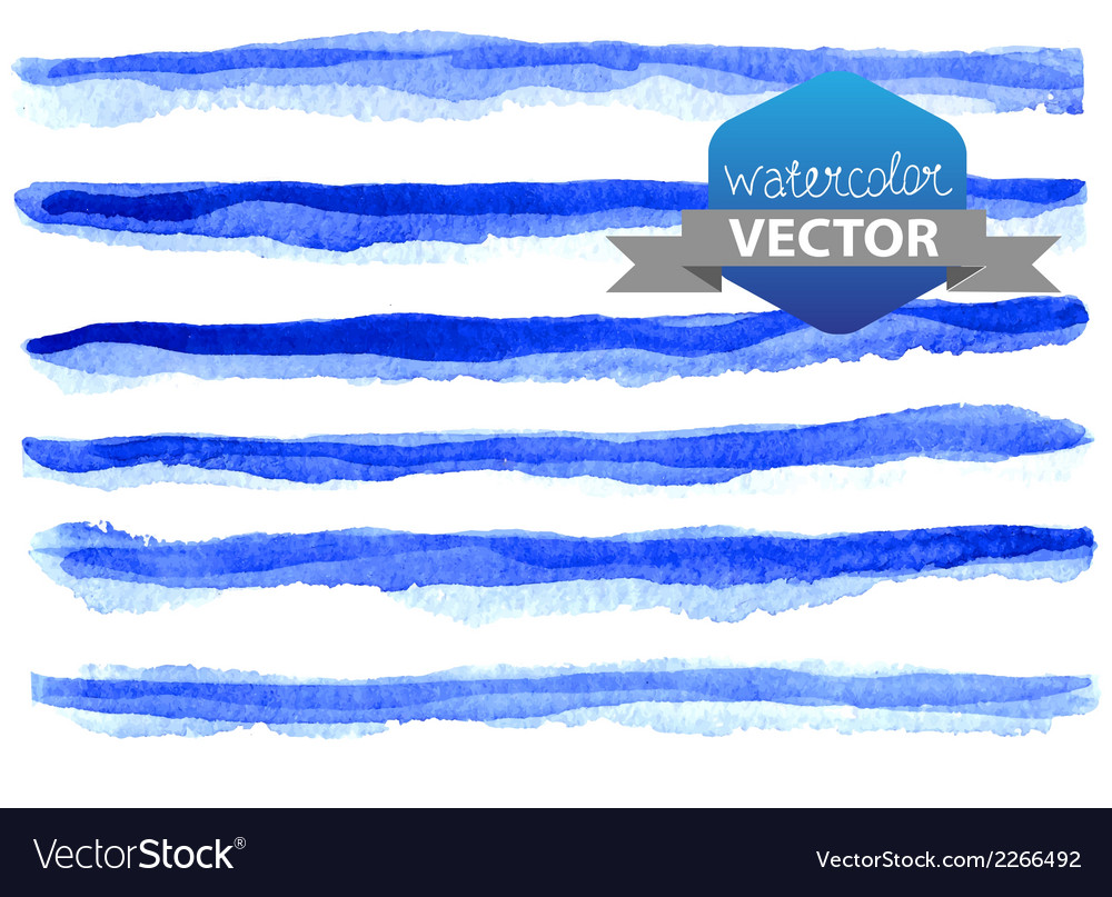 Watercolor beautiful blue lines vector | Price: 1 Credit (USD $1)