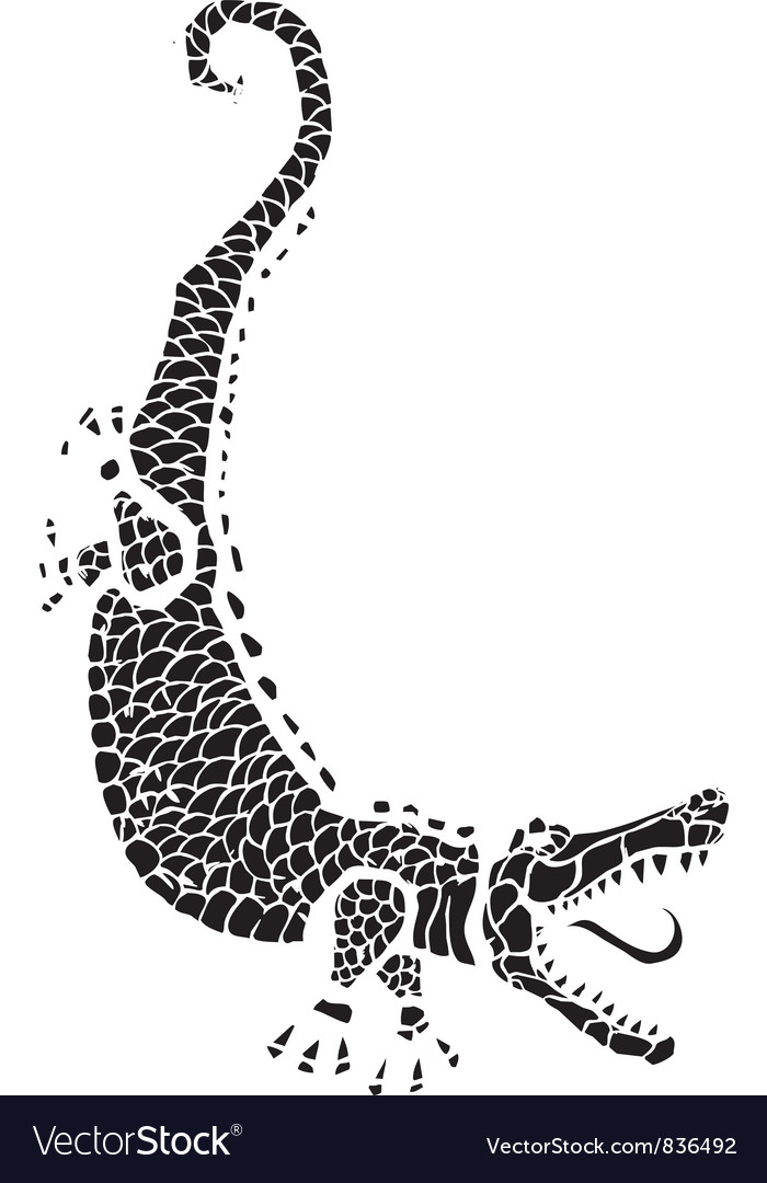 Woodcut alligator vector | Price: 1 Credit (USD $1)