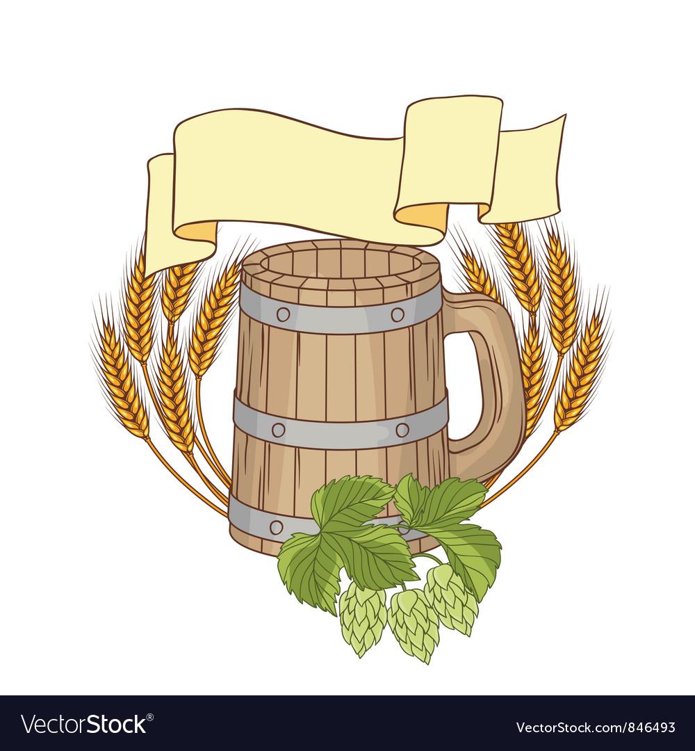 A barrel mug wheat hops vector | Price: 1 Credit (USD $1)