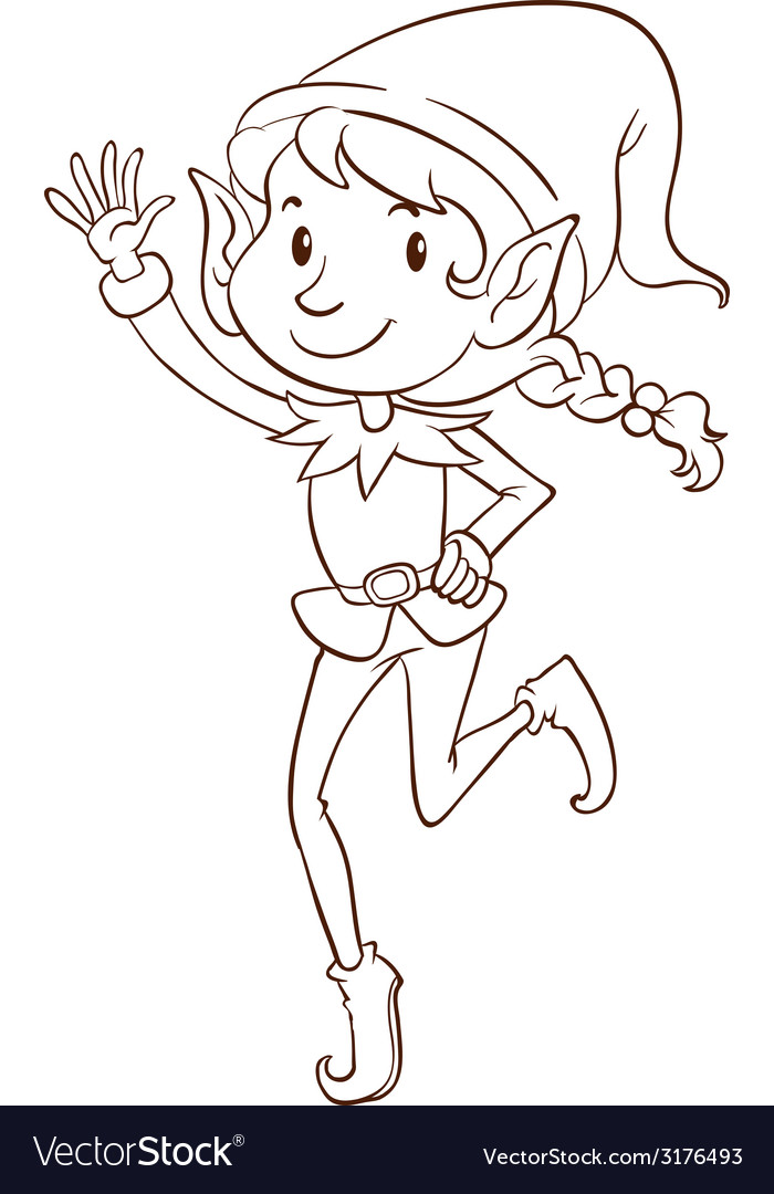 A plain drawing of an elf vector | Price: 1 Credit (USD $1)