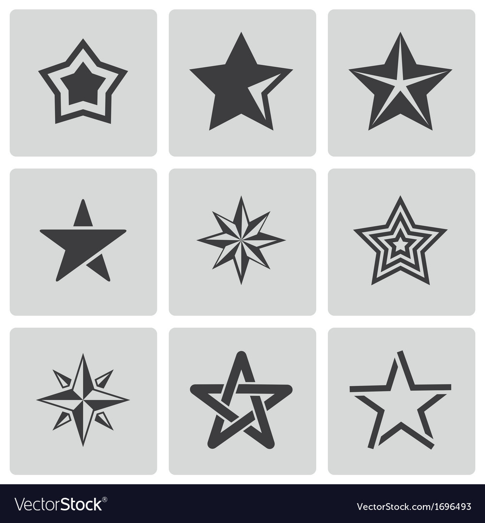 Black stars icons set vector | Price: 1 Credit (USD $1)