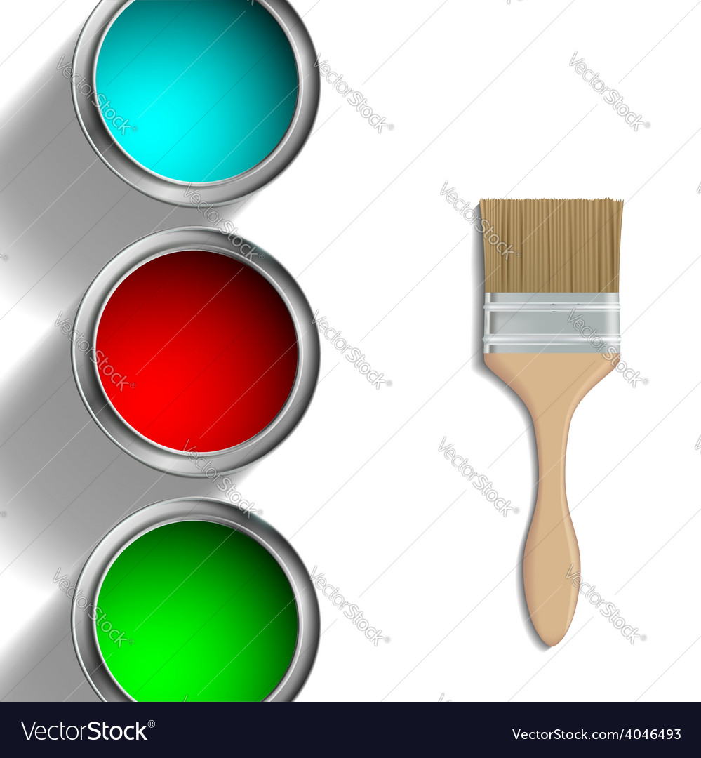 Buckets of paint and paint brush vector | Price: 1 Credit (USD $1)