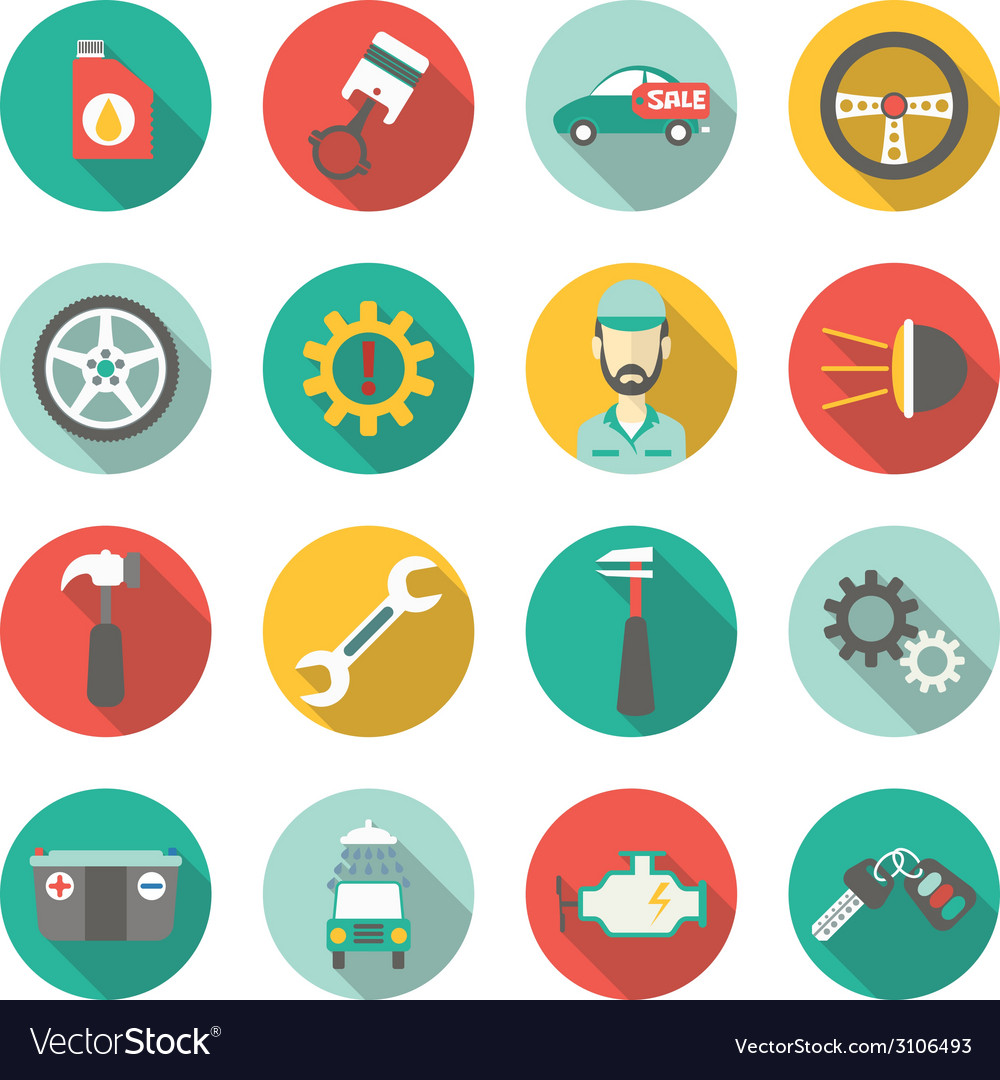 Car service flat icons vector | Price: 1 Credit (USD $1)