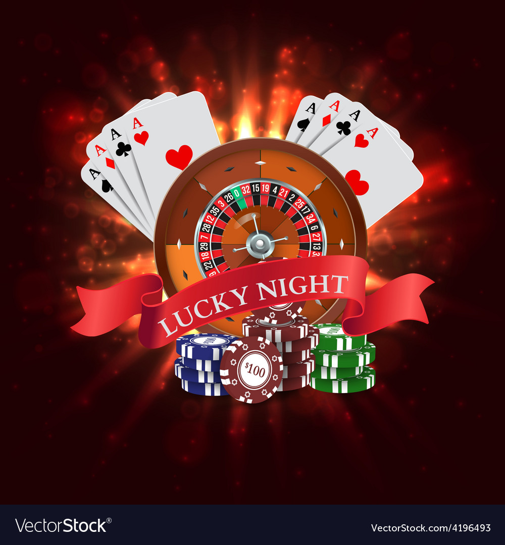 Casino roulette with red ribbon lucky night vector | Price: 1 Credit (USD $1)