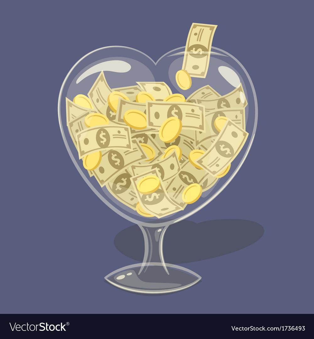 Glass money heart vector | Price: 1 Credit (USD $1)
