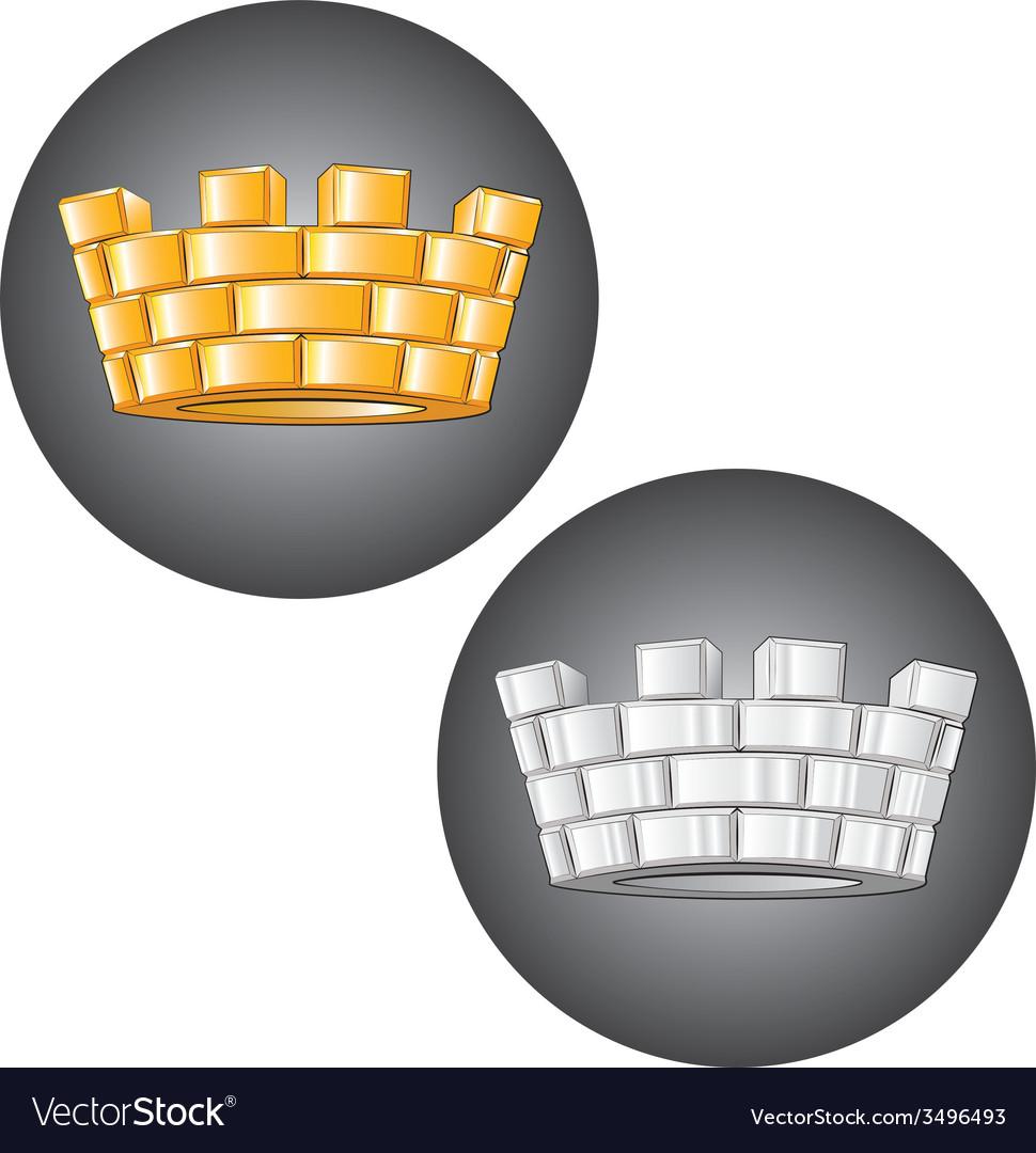 Golden silver crown vector | Price: 1 Credit (USD $1)
