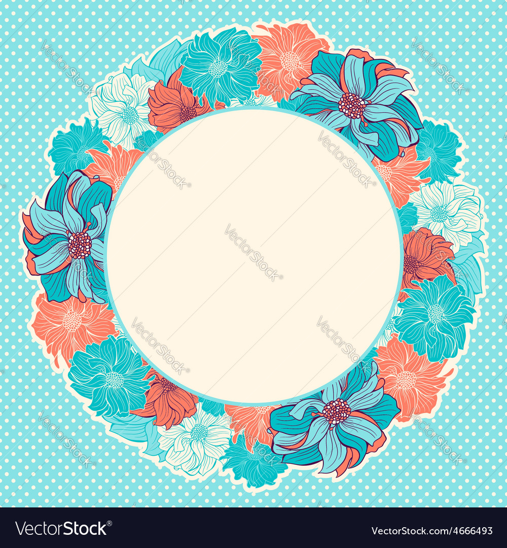 Greeting card with wreath of hand-drawn flowers vector | Price: 1 Credit (USD $1)