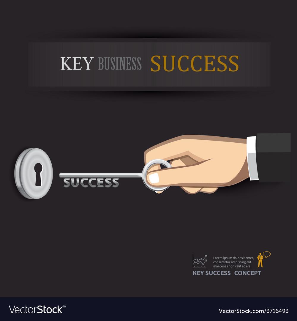 Hand unlock key success business vector | Price: 1 Credit (USD $1)