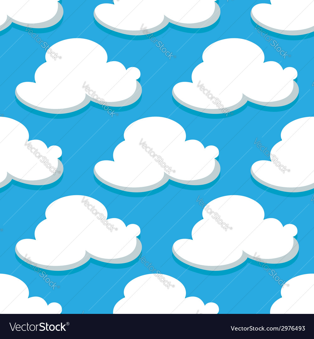 Seamless pattern of sky and white clouds vector | Price: 1 Credit (USD $1)
